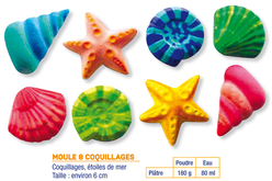 Moule 8 coquillages et étoiles de mer - Moules – 10doigts.fr
