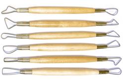 Set de 6 mirettes assorties avec manches en bois - Outils de Modelage – 10doigts.fr