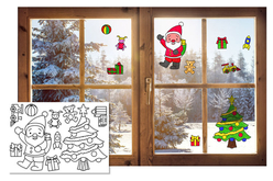 Stickers de Noël pour fenêtres à colorier - Stickers à décorer – 10doigts.fr