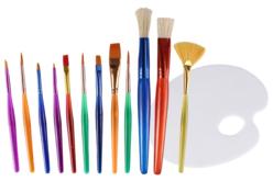 Pinceaux colorés et palette d'artiste -12 pinceaux - Pinceaux poils synthétiques – 10doigts.fr