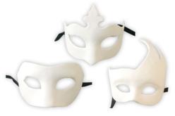 Masques blancs Vénitien à décorer - Set de 3 - Masques, loups – 10doigts.fr