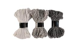 3 cordelettes bicolores, couleurs blanc, gris et noir