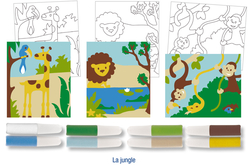 Set de 3 cartes sable assorties LA JUNGLE + 8 tubes de sable, couleurs assorties