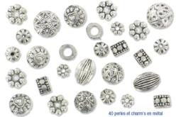 Mix d'environ 40 perles et charm's en métal argenté
