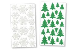 Stickers sapin et flocon en caoutchouc mousse pailleté - Set de 40 - Formes en Mousse autocollante – 10doigts.fr