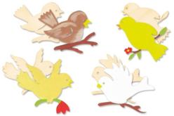 Set de 8 oiseaux assortis en bois naturel