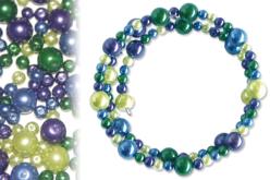 Kit bracelets perles nacrées, camaïeu azur à olive