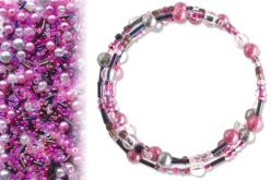 Kit bracelets farandole de perles fantaisie, en camaïeu de roses