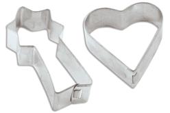 Set de 10 emporte-pièces métalliques cœurs et étoiles filantes - Cuisine Créative – 10doigts.fr