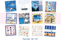 Pack Océan : Set de 36 Serviettes + cadeau d'une brosse spéciale vernis-collages
