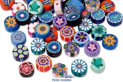 Set de 100 perles rondelles assorties en pâte polymère Millefloris