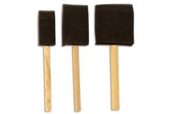 Pinceaux mousse avec manche en bois - Set de 3 - Pinceaux – 10doigts.fr