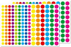 Petites gommettes rondes vives - 2 planches - Toutes les gommettes géométriques – 10doigts.fr