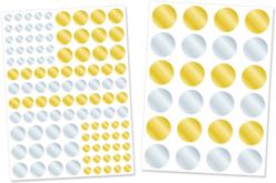 Gommettes rondes métallisées or et argent - 2 planches - Gommettes Rondes – 10doigts.fr