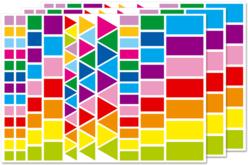 Gommettes carrées, rectangulaires et triangles, couleurs vives - Gommettes géométriques – 10doigts.fr