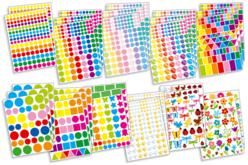 Maxi set de 2509 gommettes géométriques et fantaisie assorties - Gommettes géométriques – 10doigts.fr