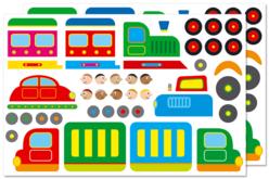 Gommettes véhicules de transport - 2 planches - Gommettes Transports et Métiers – 10doigts.fr