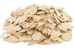 Set de motifs plats en bois naturel, formes et tailles assorties - Motifs brut – 10doigts.fr