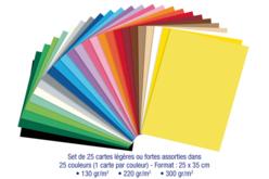 Cartes légères ou fortes - 25 couleurs assorties