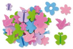 Caoutchouc souple auto-adhésif : fleurs, papillons et oiseaux prédécoupés