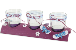 Centre de table - 3 photophores - Supports en Verre – 10doigts.fr