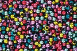 Set de 1380 perles rondes ø 4 mm  en plastique, couleurs métallisées assorties