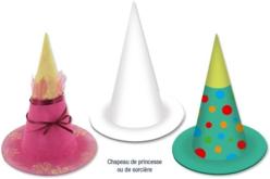 Chapeau princesse ou sorcière en carton blanc