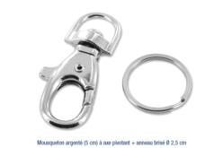 Mousqueton argenté + anneau brisé - Porte-clefs, Anneaux, Mousquetons – 10doigts.fr
