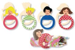 Ronds de serviette famille, en bois - Set de 4 - Cuisine et vaisselle – 10doigts.fr