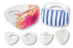 Bagues transparentes à décorer - set de 5 pcs