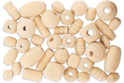 Perles formes assorties en bois naturel - Set de 110 - Perles en bois – 10doigts.fr
