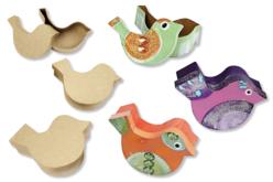 Boîtes oiseaux en papier mâché - 3 tailles assorties - Animaux en papier mâché – 10doigts.fr