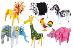 Animaux 3D en carton mousse à décorer - Set de 13 - Maquettes en papier – 10doigts.fr