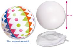 Ballon en PVC blanc à décorer - Support blanc – 10doigts.fr