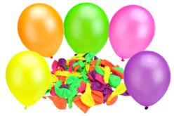 Ballons ronds, couleurs fluos - Set de 100 - Ballons, guirlandes, serpentins – 10doigts.fr