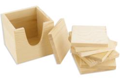 Boîte + 8 dessous de verre, en bois