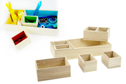 Boîte en bois - 10 compartiments amovibles - Boîtes et coffrets – 10doigts.fr