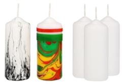 Bougies blanches décorées avec du marbling