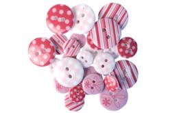 Boutons à motifs camaïeu rose - Set de 28 - Boutons – 10doigts.fr