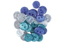 Boutons pailletés camaïeu bleu - Set de 36 - Boutons – 10doigts.fr