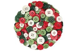 Boutons ronds en plastique couleurs de Noël - 300 pièces - Boutons – 10doigts.fr
