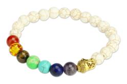 Kit pour bracelet Chakras blanc - 26 perles - Perles Lithothérapie – 10doigts.fr