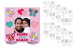 """Cadres photo à colorier """"Bonne fête Maman"""" - Lot de 8 - Coloriages – 10doigts.fr"""