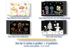 Cartes à gratter assorties + grattoirs - 4 pièces - Cartes à gratter – 10doigts.fr