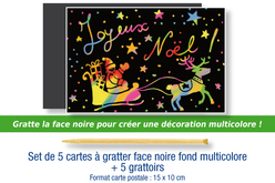 Cartes à gratter face noire fond multicolore + grattoirs  - 5 pcs