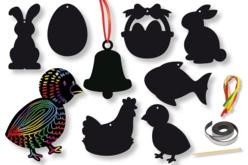 Cartes à gratter thème Pâques + accessoires - 8 formes - Carte à gratter – 10doigts.fr
