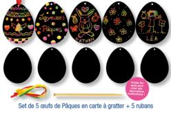 Cartes à gratter Oeufs de Pâques + accessoires - 5 formes - Oeufs – 10doigts.fr