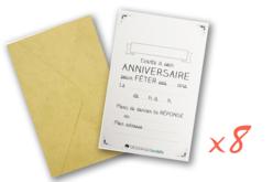 Cartes d'invitations et enveloppes - 8 pièces - Anniversaires – 10doigts.fr