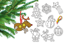 Suspensions de Noel en carte à sabler - Set de 8 - Sable coloré – 10doigts.fr