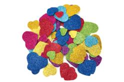 Stickers cœurs pailletés en caoutchouc mousse - 70 pièces - Gommettes  Fête des parents – 10doigts.fr